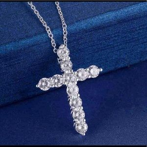SILVER PLATED CRYSTAL CROSS NECKLACE